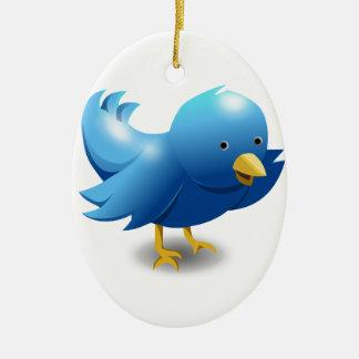 Twitter BIRD logotipo Adorno Navideño Ovalado De Cerámica