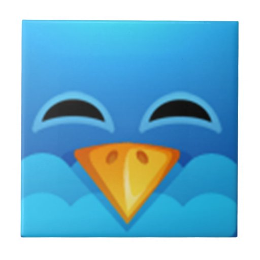 Twitter blue bird face small square tile