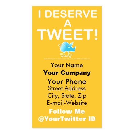 Twitter Business Card - Deserve a Tweet