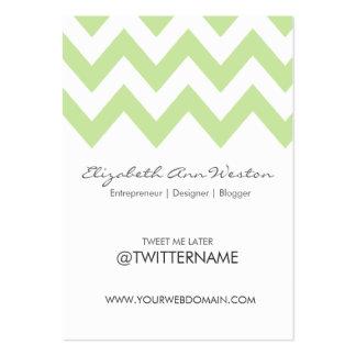 Twitter Business Cards Green Tea Chevron- Portrait
