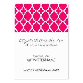 Twitter Business Cards Hot Pink Moroccan Tile