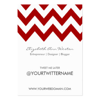 Twitter Business Cards in Red Chevron - Portrait