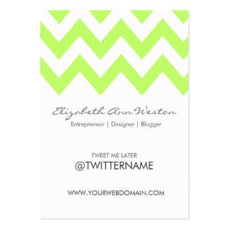 Twitter Business Cards: Lime Chevron - Portrait