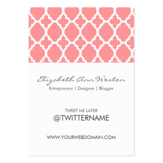 Twitter Business Cards Pink Moroccan Tile