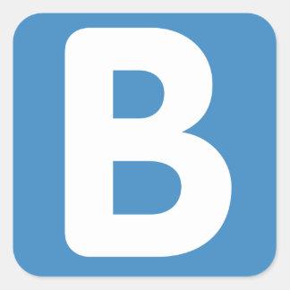 Twitter emoji - Letter B Pegatina Cuadrada