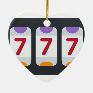 Twitter Emoji - Lucky 7 Double-Sided Heart Ceramic Christmas Ornament