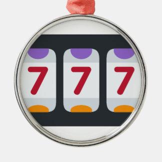 Twitter Emoji - Lucky 7 Round Metal Christmas Ornament
