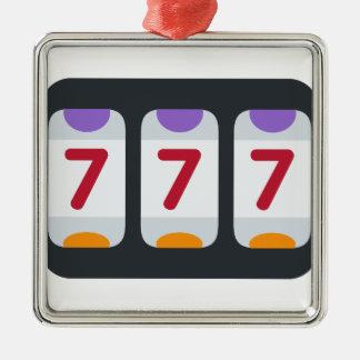 Twitter Emoji - Lucky 7 Square Metal Christmas Ornament