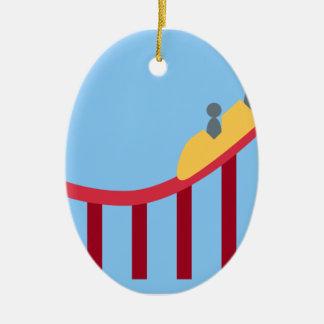 Twitter Emoji - Roller coaster Adorno Navideño Ovalado De Cerámica