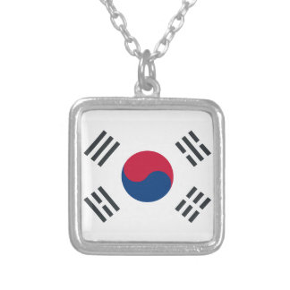 Twitter emoji - South Korea Flag Silver Plated Necklace