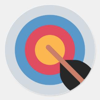 Twitter Emoticon - target archery Pegatina Redonda