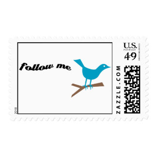 Twitter Follow Me Postage Stamp