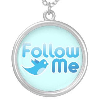 Twitter Follow Me Round Pendant Necklace