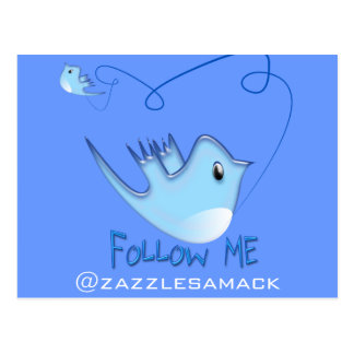 Twitter Gifts With Your User Name Follow Me Birdie Postcard