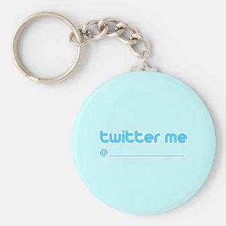 twitter me @ basic round button keychain