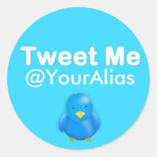 Twitter Sticker: Tweet Me @YourAlias Classic Round Sticker