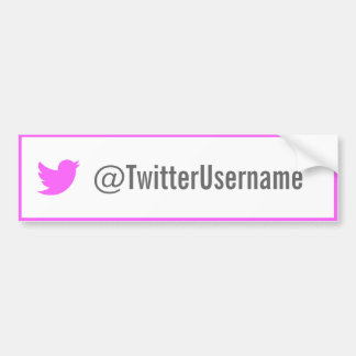 Twitter Username Bumper Sticker (Pink) Car Bumper Sticker