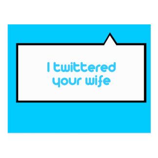 Twittered a su esposa tarjeta postal