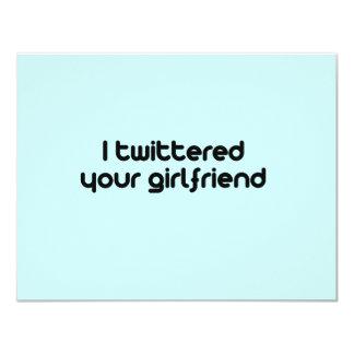 """Twittered a su novia invitación 4.25"""" x 5.5"""""""