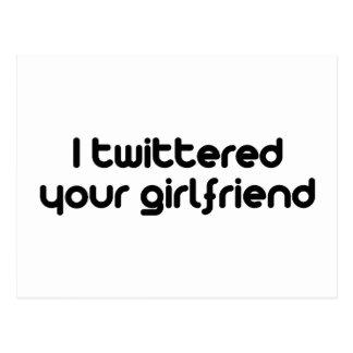 Twittered a su novia tarjetas postales