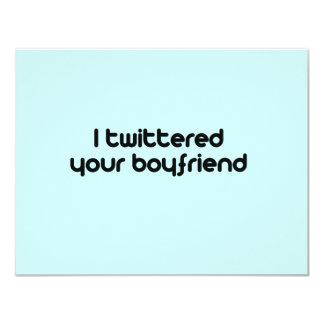 """Twittered a su novio invitación 4.25"""" x 5.5"""""""