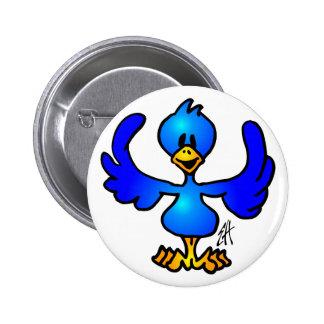 Twittering blue Bird Button