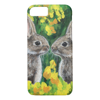 Twitterpated- a portrait of two bunnies iPhone 7 case