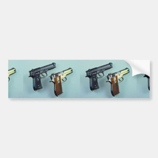 Two .45 caliber automatic guns for gun lovers bumper stickers