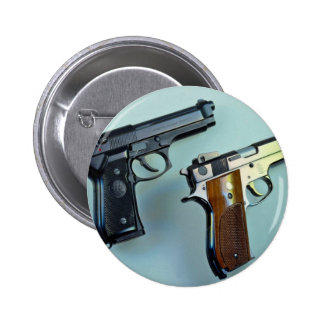 Two .45 caliber automatic guns for gun lovers 2 inch round button