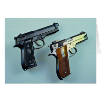 Two .45 caliber automatic guns for gun lovers card