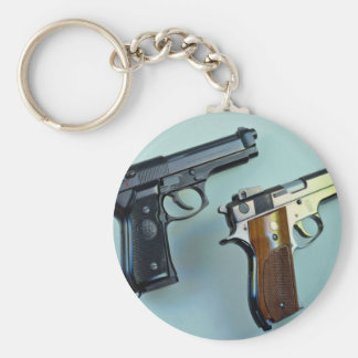 Two .45 caliber automatic guns for gun lovers keychain
