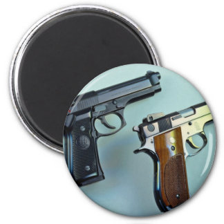 Two .45 caliber automatic guns for gun lovers magnets