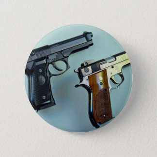 Two .45 caliber automatic guns for gun lovers pinback button