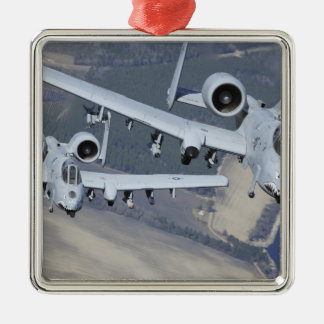 Two A-10C Thunderbolt II aircraft fly in format Square Metal Christmas Ornament