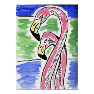 Two  Abstract Flamingos Poster