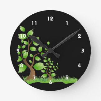 two abstract trees left corner eco design.png round clock