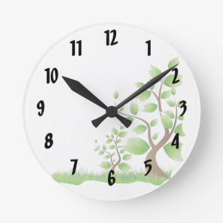 two abstract trees right corner eco design.png round clock