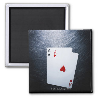 Two Aces Playing Cards on Stainless Steel Fridge Magnet