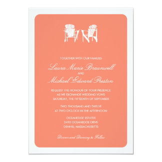 Two Adirondack Chairs Wedding Personalized Invites