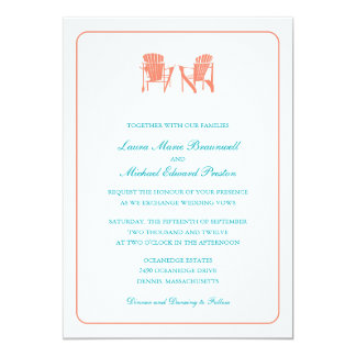 Two Adirondack Chairs Wedding Announcement