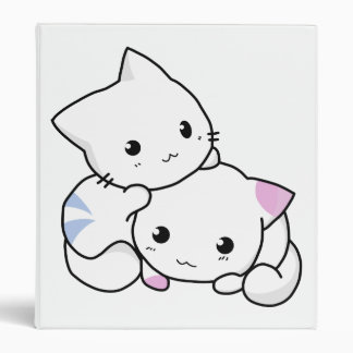 Two adorable baby kittens cuddle together 3 ring binder