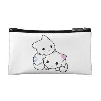 Two adorable baby kittens cuddle together cosmetic bag