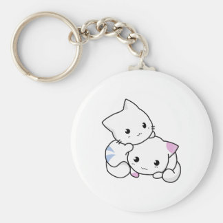 Two adorable baby kittens cuddle together keychain