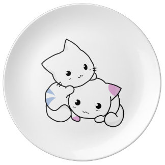 Two adorable baby kittens cuddle together porcelain plate