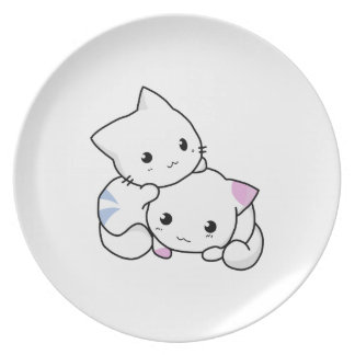 Two adorable baby kittens cuddle together party plates