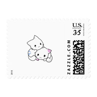 Two adorable baby kittens cuddle together postage stamps