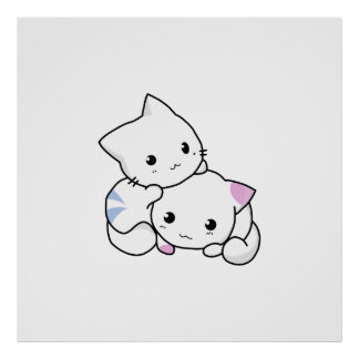 Two adorable baby kittens cuddle together poster