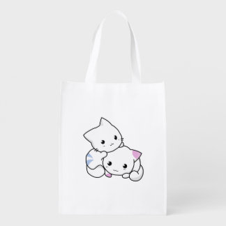Two adorable baby kittens cuddle together reusable grocery bag