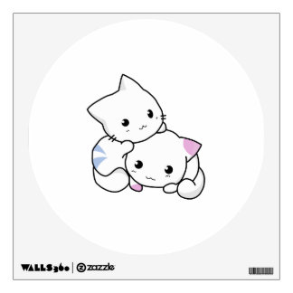 Two adorable baby kittens cuddle together wall sticker