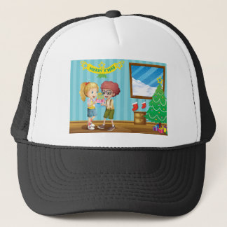Two adorable kids exchanging their christmas gifts trucker hat